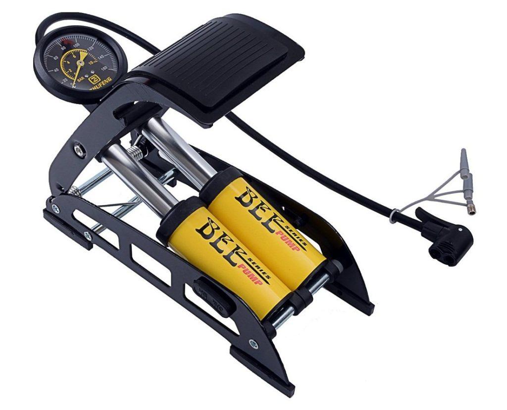 Bomba de pé de bicicleta Krevia com medidor preciso